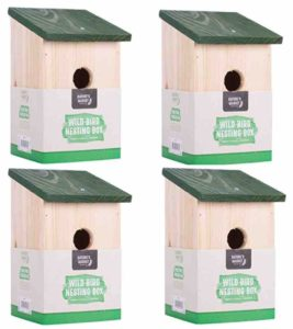 4 X WOODEN NESTING NEST BOX BIRD HOUSE SMALL BIRDS BLUE TIT ROBIN SPARROW